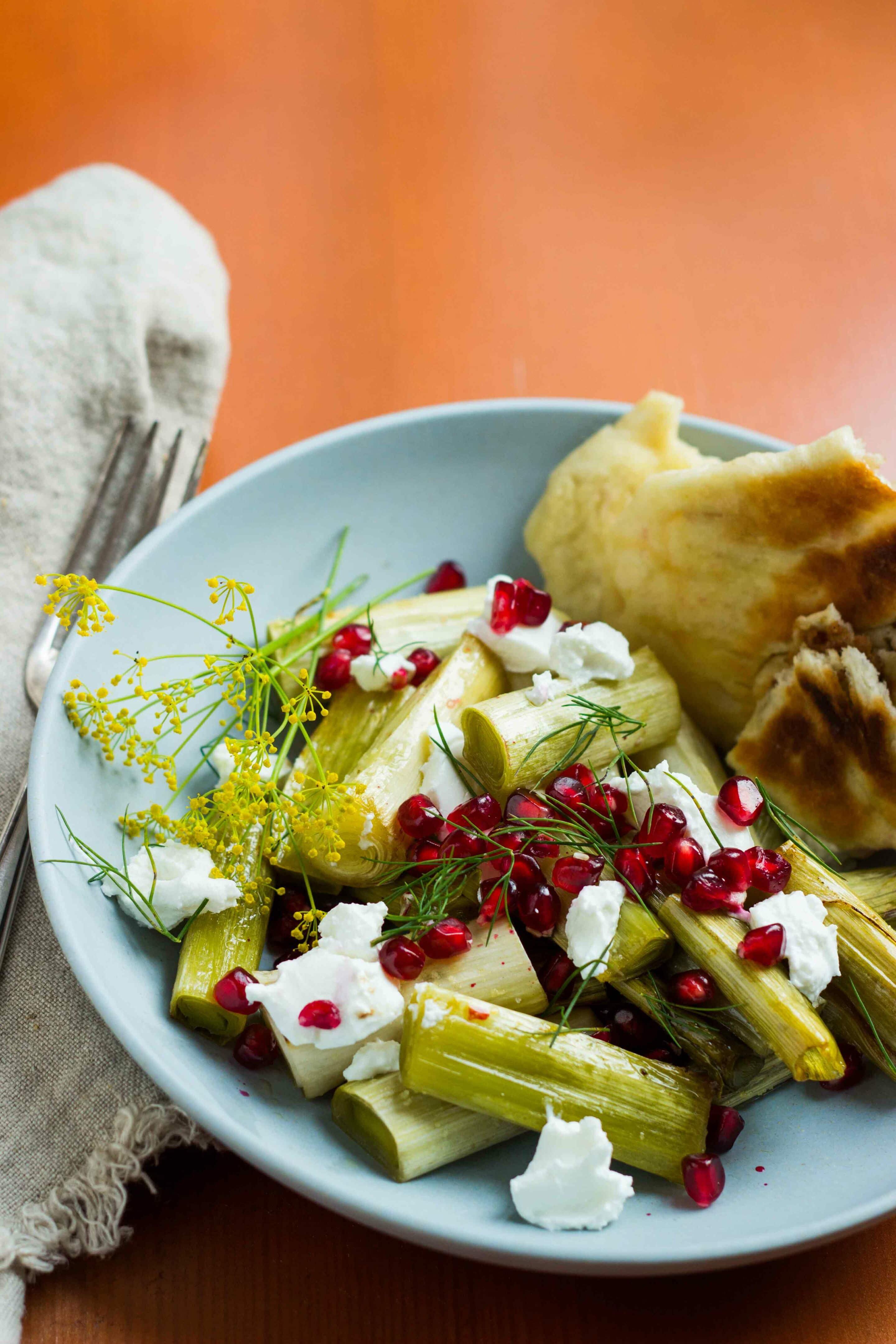 Lauch mit Granatapfel und Ziegenkäse (1 von 1)